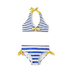 Lands' End - Girls' blue seaside halterneck bikini