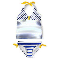 Lands' End - Girls' blue halter neck tankini