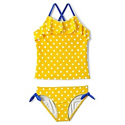 Lands' End - Girls' yellow ruffle tankini