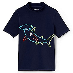 Lands' End - Boys' blue short sleeve graphic rash vest