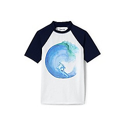 Lands' End - White short sleeve colourblock graphic rash vest