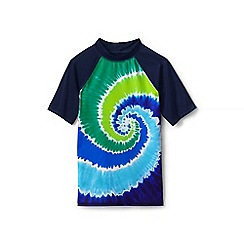 Lands' End - Blue short sleeve colourblock graphic rash vest