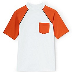 Lands' End - Boys' white short sleeve colourblock rash vest