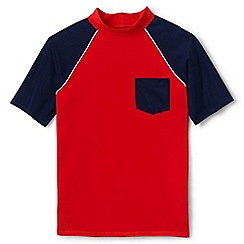 Lands' End - Boys' orange short sleeve colourblock rash vest