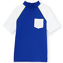 Lands' End - Boys' blue short sleeve colourblock rash vest