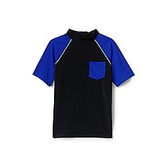 Lands' End - Boys' black short sleeve colour block rash vest
