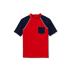 Lands' End - Boys' orange short sleeve colour block rash vest