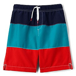 Lands' End - Boys' orange colour block swim shorts