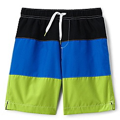 Lands' End - Boys' green colour block swim shorts