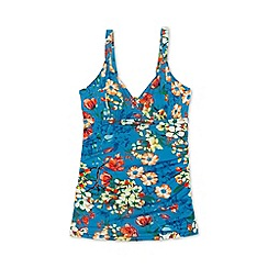 Lands' End - Blue costa d'oro ruched floral v-neck tankini top