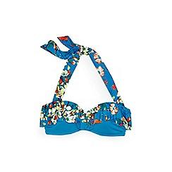 Lands' End - Blue costa d'oro ruffle bandeau bikini top