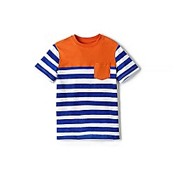 Lands' End - Boys' blue stripe/colourblock tee