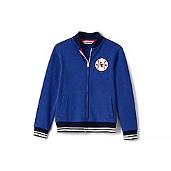 Lands' End - Boys' blue jersey baseball jacket