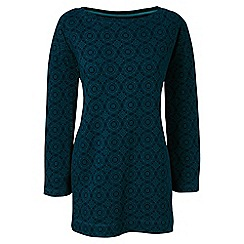 Lands' End - Blue three quarter sleeve print boatneck tunic