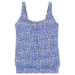 Lands' End - Blue plus beach living pleated blouson paisley print tankini top
