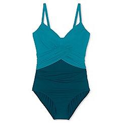 Lands' End - Green regular sweetheart colourblock slender swimsuit