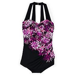 Lands' End - Black regular cascade floral tunic slender swimsuit
