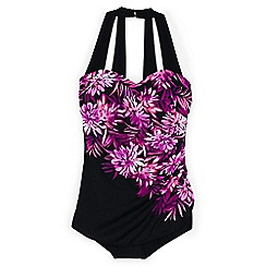 Lands' End - Black plus cascade floral tunic slender swimsuit