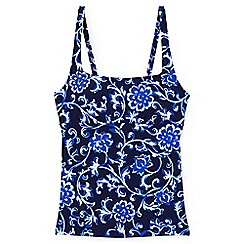 Lands' End - Blue dd-cup beach living square neck scroll pattern tankini top