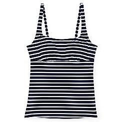 Lands' End - Blue regular beach living square neck nautical stripe tankini top