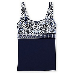 Lands' End - Blue dd-cup beach living square neck floral medallion tankini top