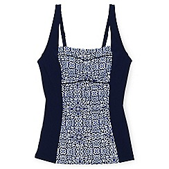 Lands' End - Blue regular beach living sweetheart medallion print tankini top