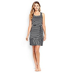 Lands' End - Black regular belted striped swim cover-up