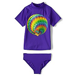Lands' End - Girls' blue smart swim graphic rashguard set