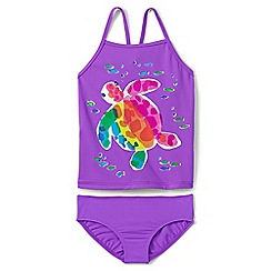 Lands' End - Girls' purple smart swim graphic tankini