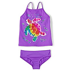 Lands' End - Purple smart swim graphic tankini