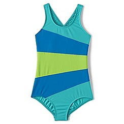 Lands' End - Blue smart swim multi colourblock swimsuit