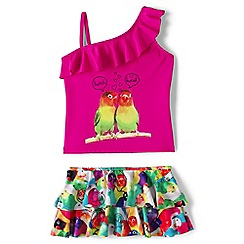 Lands' End - Girls' pink one shoulder skirted tankini