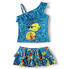 Lands' End - Girls' blue one shoulder skirted tankini