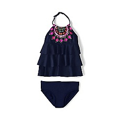 Lands' End - Girls' blue tiered ruffle tankini