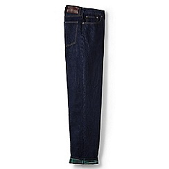 Lands' End - Blue flannel-lined traditional fit jeans