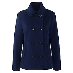 Lands' End - Blue regular super soft wool blend pea coat