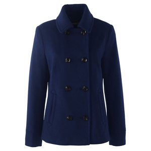 Lands' End Blue regular super soft wool blend pea coat