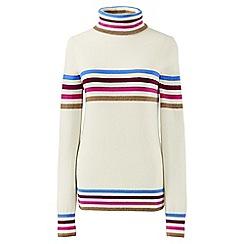 Lands' End - Cream merino/cashmere striped rollneck