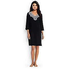 Lands' End - Black regular cotton crepe beach cover-up