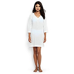 Lands' End - White regular cotton crepe beach cover-up