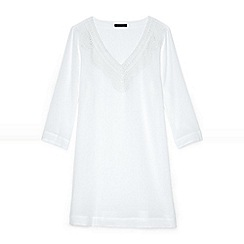 Lands' End - White plus cotton crepe beach cover-up