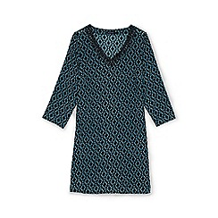 Lands' End - Black regular cotton crepe star print beach cover-up