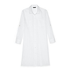 Lands' End - White regular boyfriend shirt dress beach cover-up