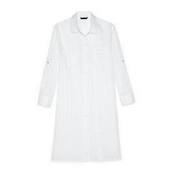 Lands' End - White regular boyfriend shirt dress beach cover-up