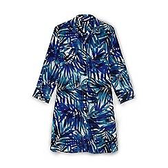 Lands' End - Multi regular boyfriend shirt dress tropical palm beach cover-up