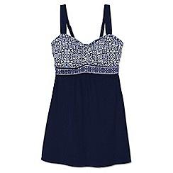 Lands' End - Blue regular sweetheart dresskini medallion print swim top