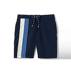 Lands' End - Blue regular colourblock stripe board shorts
