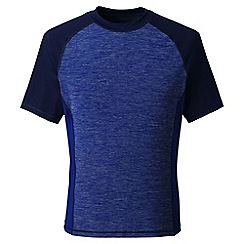 Lands' End - Blue regular short sleeve space-dye rash vest