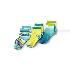 Lands' End - Girls' grey novelty 3pk ankle socks