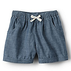 Lands' End - Girls' blue pull on chambray shorts